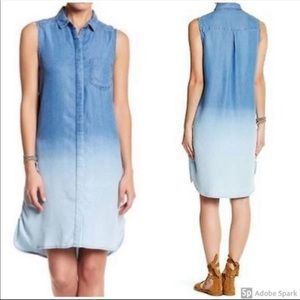 BeachLunchLounge Chambray Ombré Button Front Dress